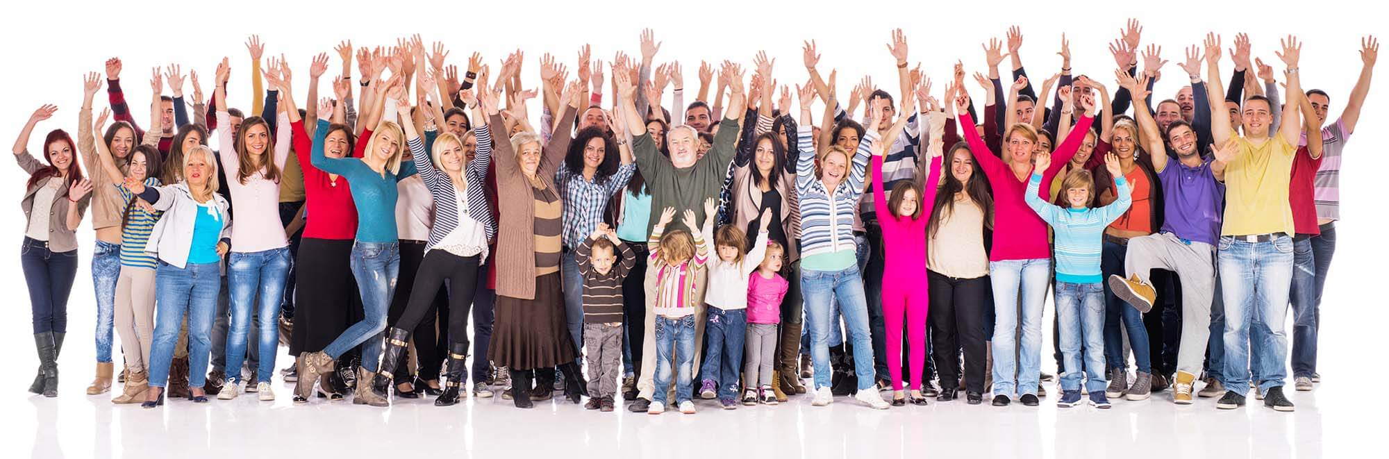 crowd hands raised
