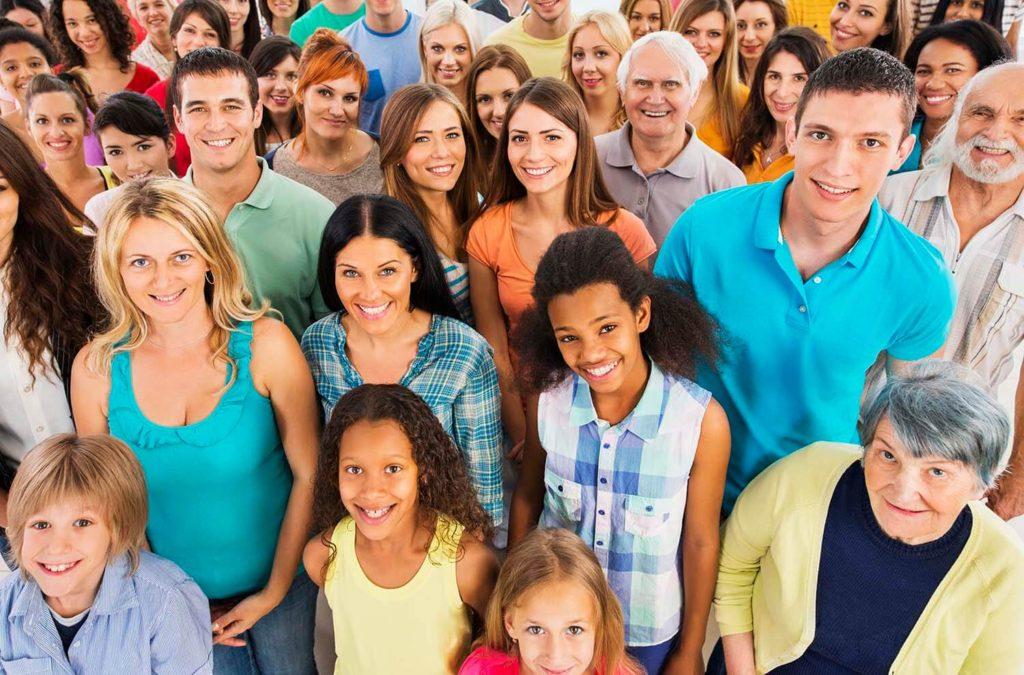 smiling crowd